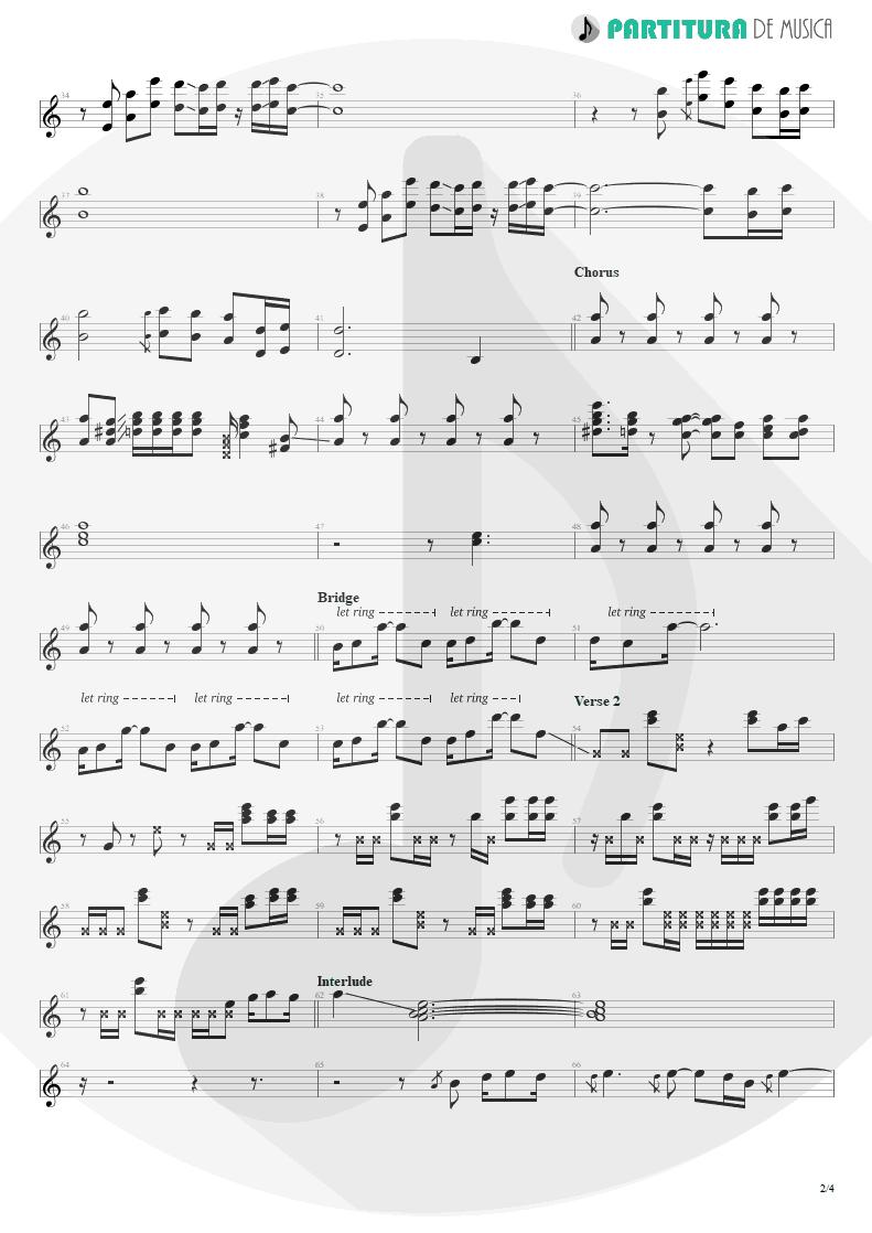 Partitura de musica de Guitarra Elétrica - Evidence   Faith No More   King for a Day... Fool for a Lifetime 1995 - pag 2