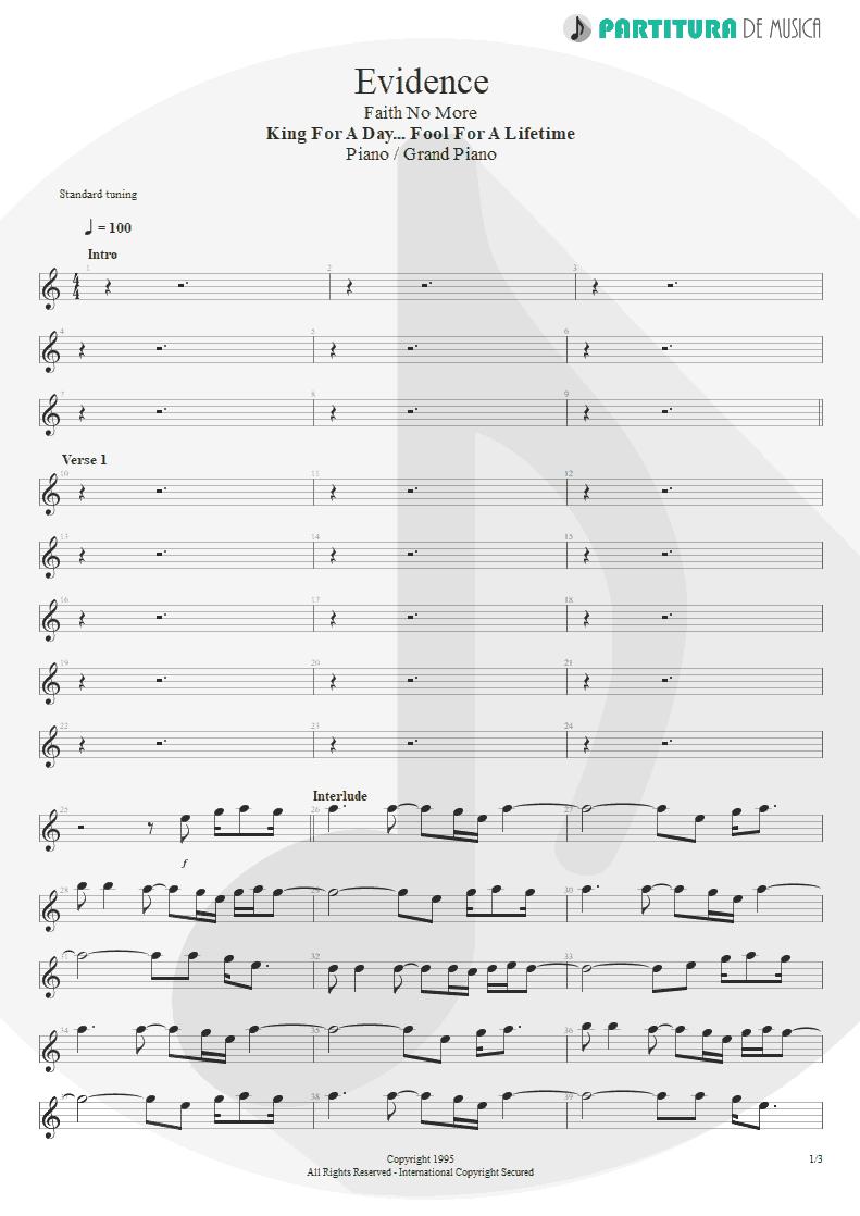 Partitura de musica de Piano - Evidence | Faith No More | King for a Day... Fool for a Lifetime 1995 - pag 1