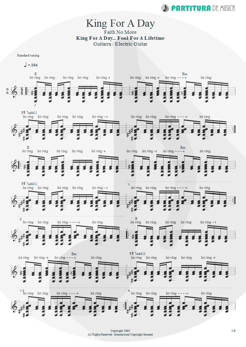 Partitura de musica de Guitarra Elétrica - King For A Day | Faith No More | King for a Day... Fool for a Lifetime 1995 - pag 1