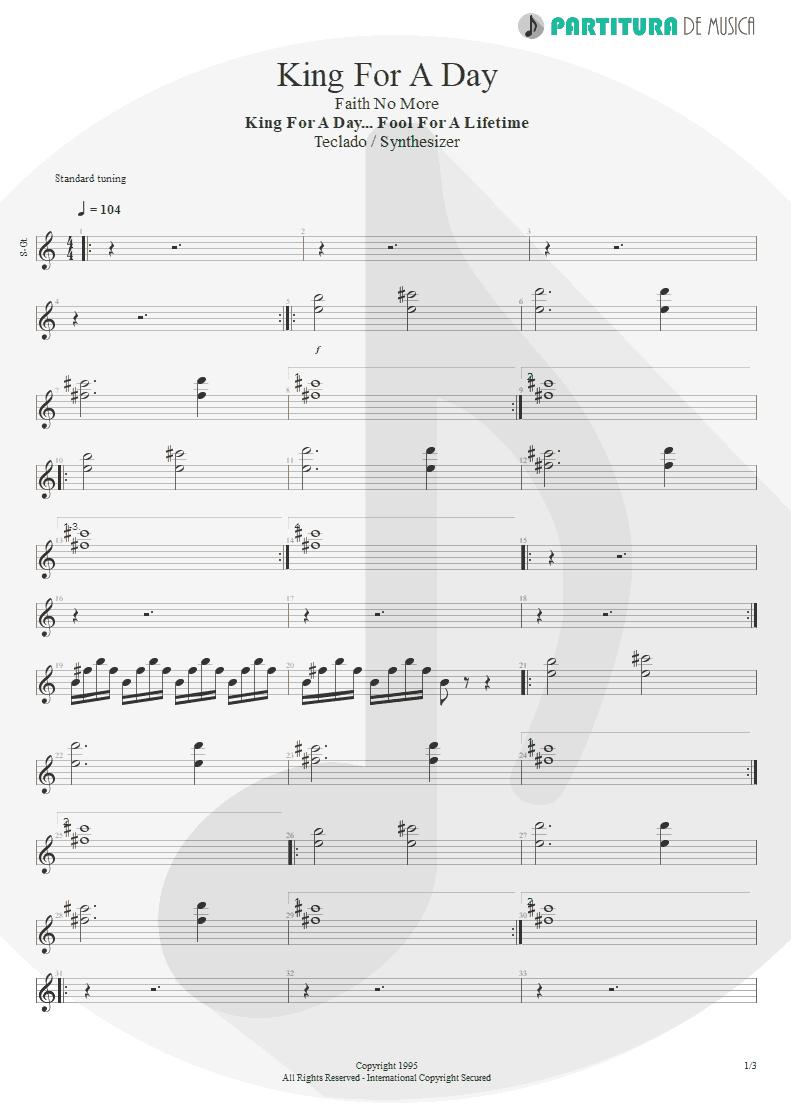 Partitura de musica de Teclado - King For A Day   Faith No More   King for a Day... Fool for a Lifetime 1995 - pag 1