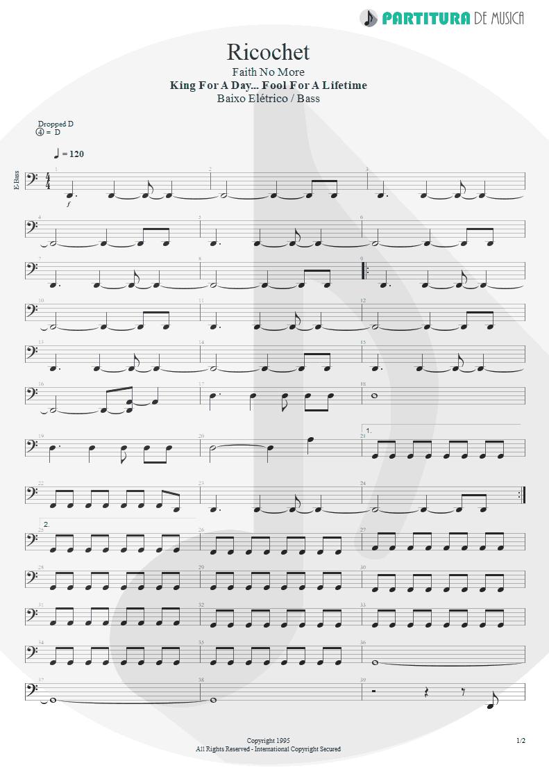 Partitura de musica de Baixo Elétrico - Ricochet | Faith No More | King for a Day... Fool for a Lifetime 1995 - pag 1
