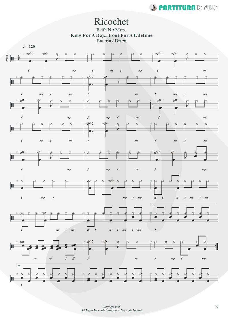 Partitura de musica de Bateria - Ricochet | Faith No More | King for a Day... Fool for a Lifetime 1995 - pag 1