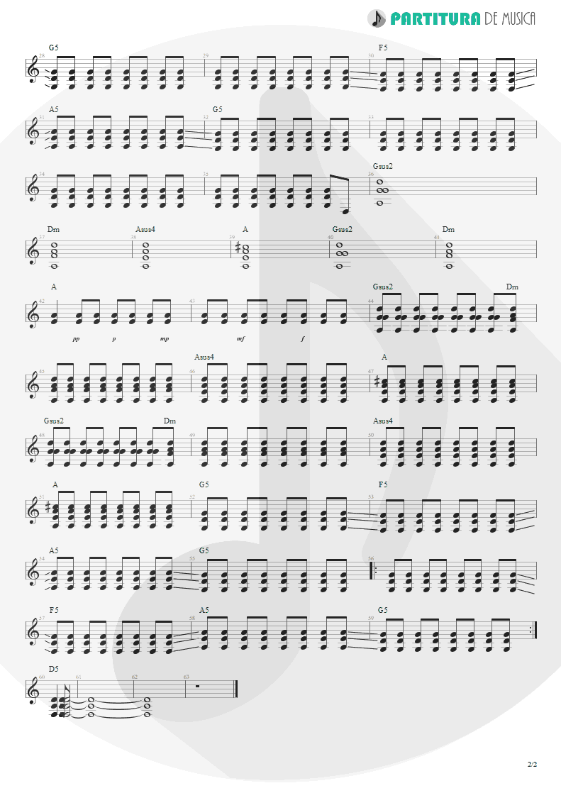 Partitura de musica de Guitarra Elétrica - Ricochet | Faith No More | King for a Day... Fool for a Lifetime 1995 - pag 2