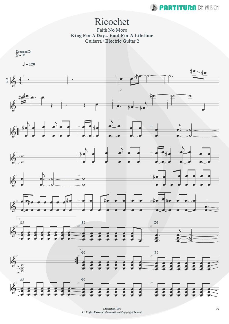 Partitura de musica de Guitarra Elétrica - Ricochet | Faith No More | King for a Day... Fool for a Lifetime 1995 - pag 1