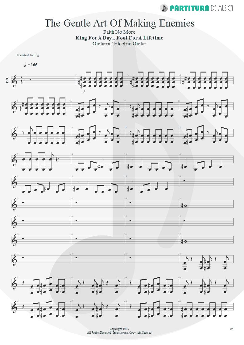 Partitura de musica de Guitarra Elétrica - The Gentle Art Of Making Enemies | Faith No More | King for a Day... Fool for a Lifetime 1995 - pag 1