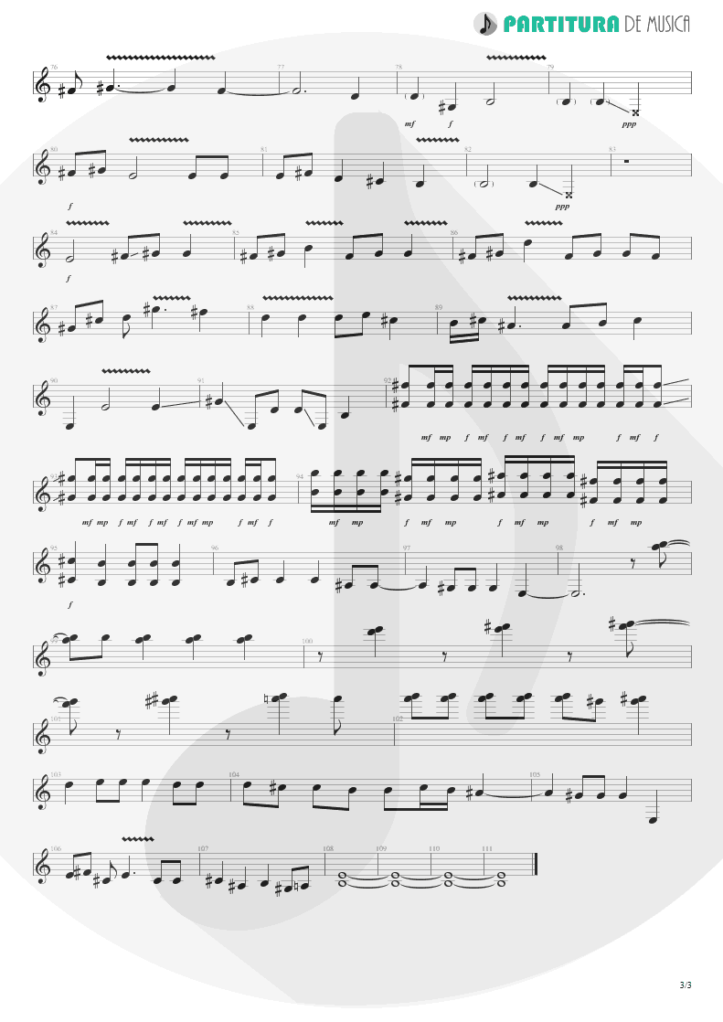 Partitura de musica de Guitarra Elétrica - The Last To Know | Faith No More | King for a Day... Fool for a Lifetime 1995 - pag 3