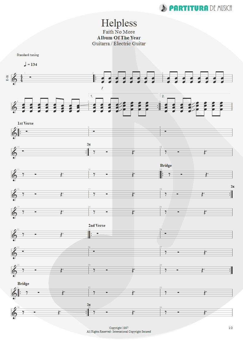 Partitura de musica de Guitarra Elétrica - Helpless | Faith No More | Album of the Year 1997 - pag 1
