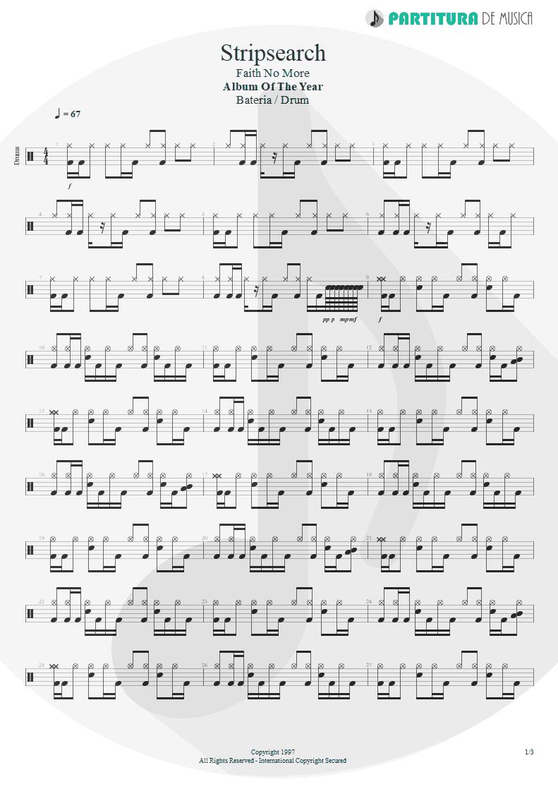 Partitura de musica de Bateria - Stripsearch | Faith No More | Album of the Year 1997 - pag 1