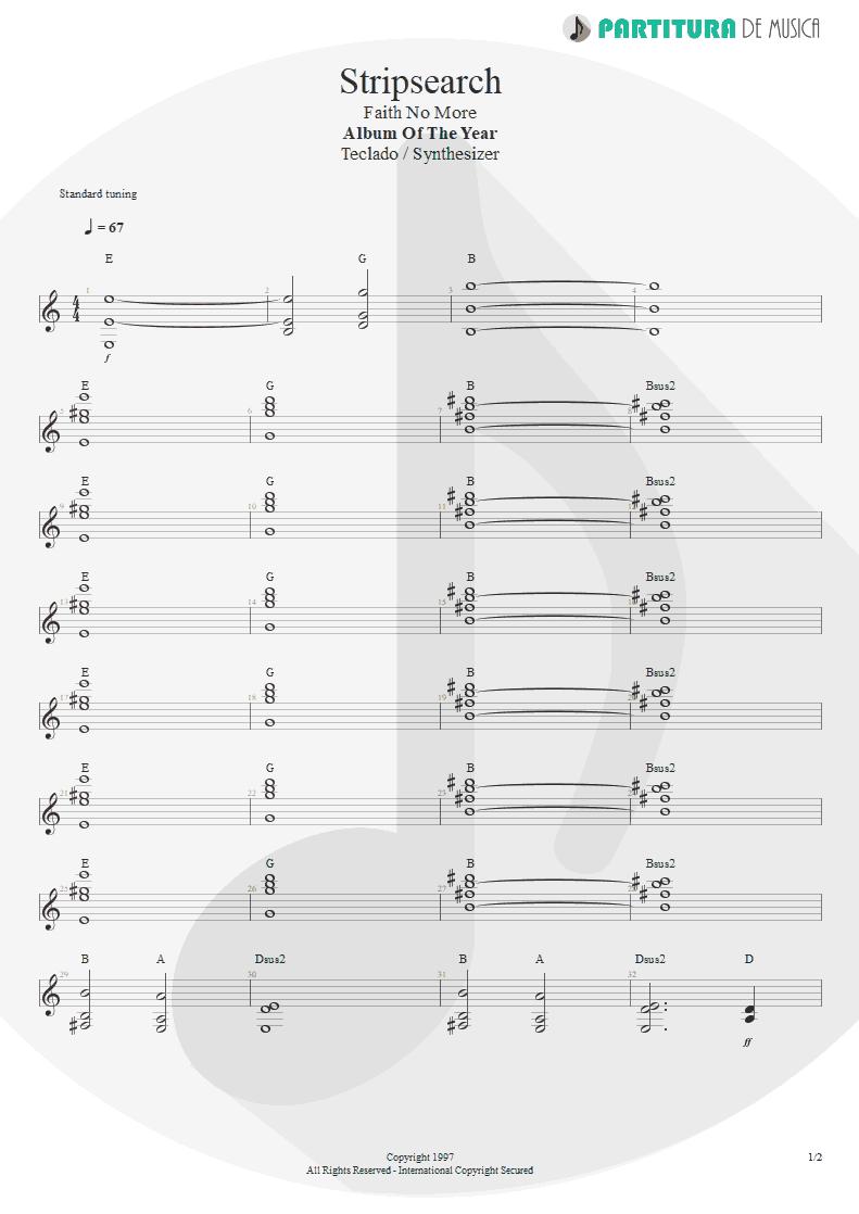 Partitura de musica de Teclado - Stripsearch | Faith No More | Album of the Year 1997 - pag 1