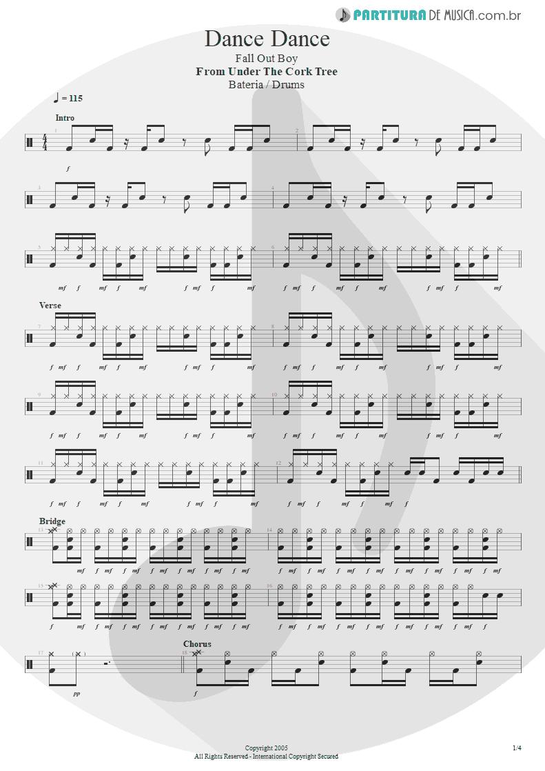 Partitura de musica de Bateria - Dance, Dance | Fall Out Boy | From Under the Cork Tree 2005 - pag 1