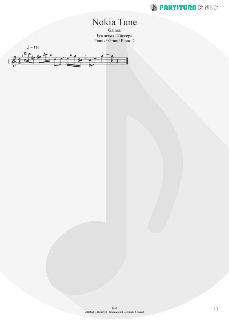Partitura de musica de Piano - Nokia Tune | Games | Francisco Tarrega 1902 - pag 1