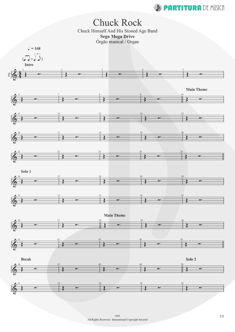 Partitura de musica de Órgão - Chuck Rock | Games | Sega Mega Drive 1991 - pag 1