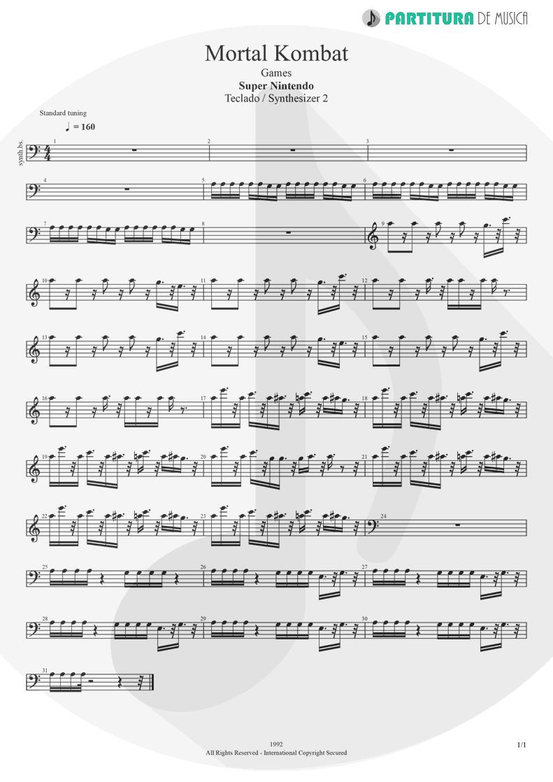 Partitura de musica de Teclado - Mortal Kombat | Games | Super Nintendo 1992 - pag 1