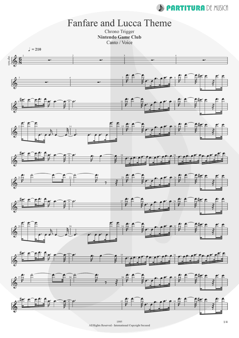 Partitura de musica de Canto - Fanfare and Lucca Theme   Games   Nintendo Game Club 1995 - pag 1