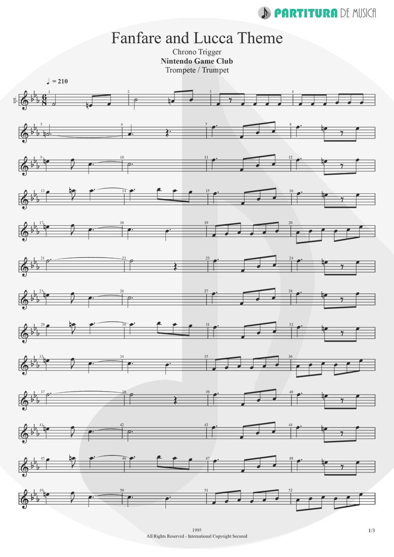 Partitura de musica de Trompete - Fanfare and Lucca Theme | Games | Nintendo Game Club 1995 - pag 1