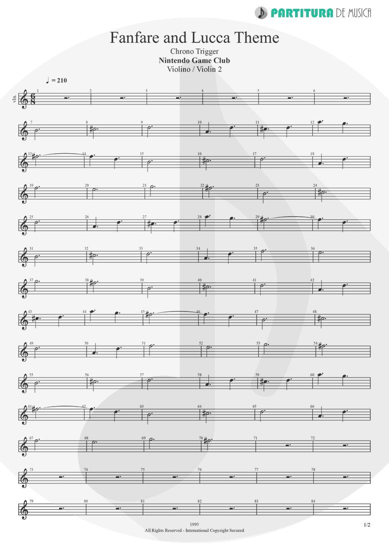 Partitura de musica de Violino - Fanfare and Lucca Theme | Games | Nintendo Game Club 1995 - pag 1