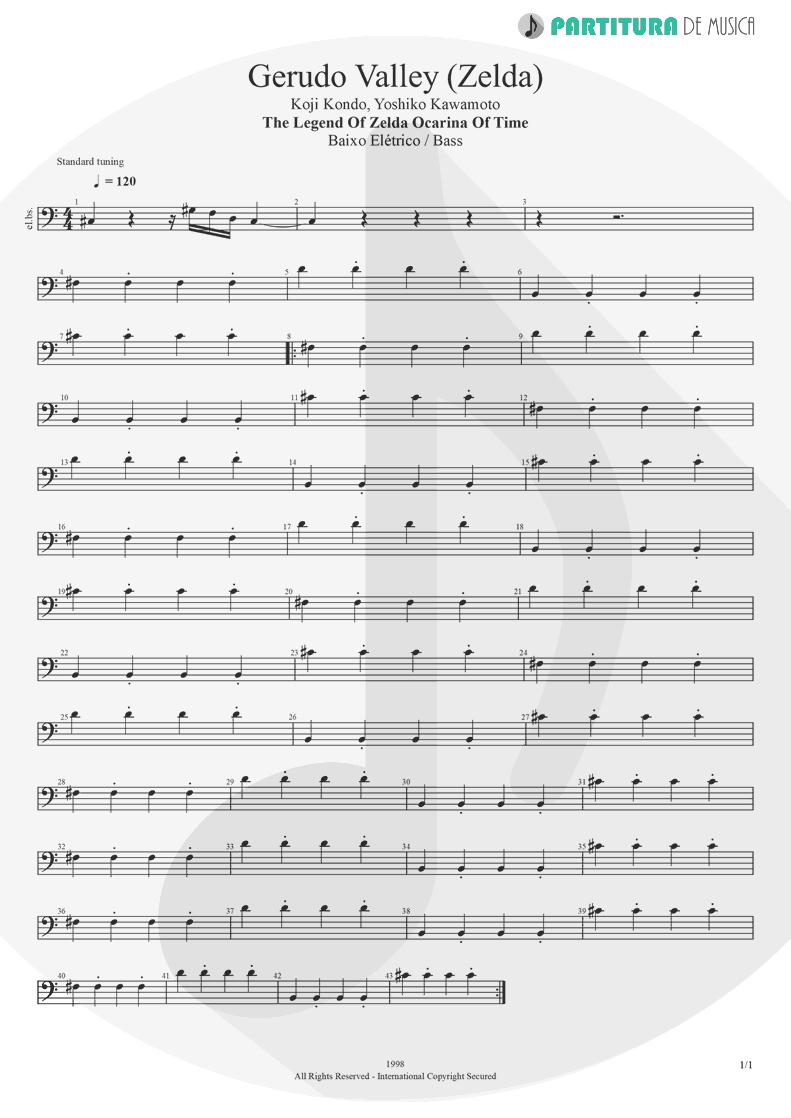 Partitura de musica de Baixo Elétrico - Gerudo Valley   Games   The Legend of Zelda Ocarina of Time 1998 - pag 1
