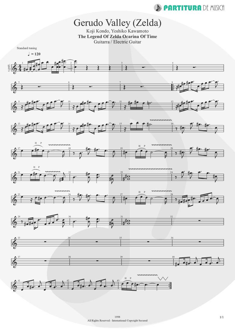 Partitura de musica de Guitarra Elétrica - Gerudo Valley | Games | The Legend of Zelda Ocarina of Time 1998 - pag 1