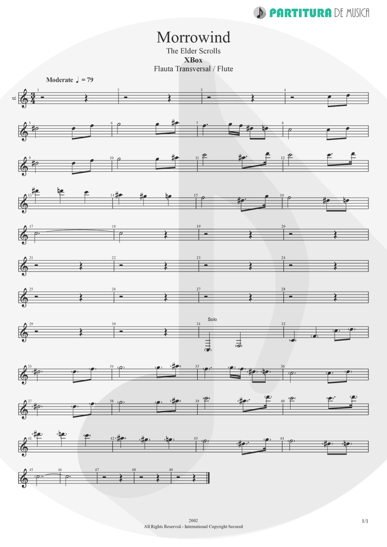 Partitura de musica de Flauta Transversal - Morrowind | Games | X-Box 2002 - pag 1