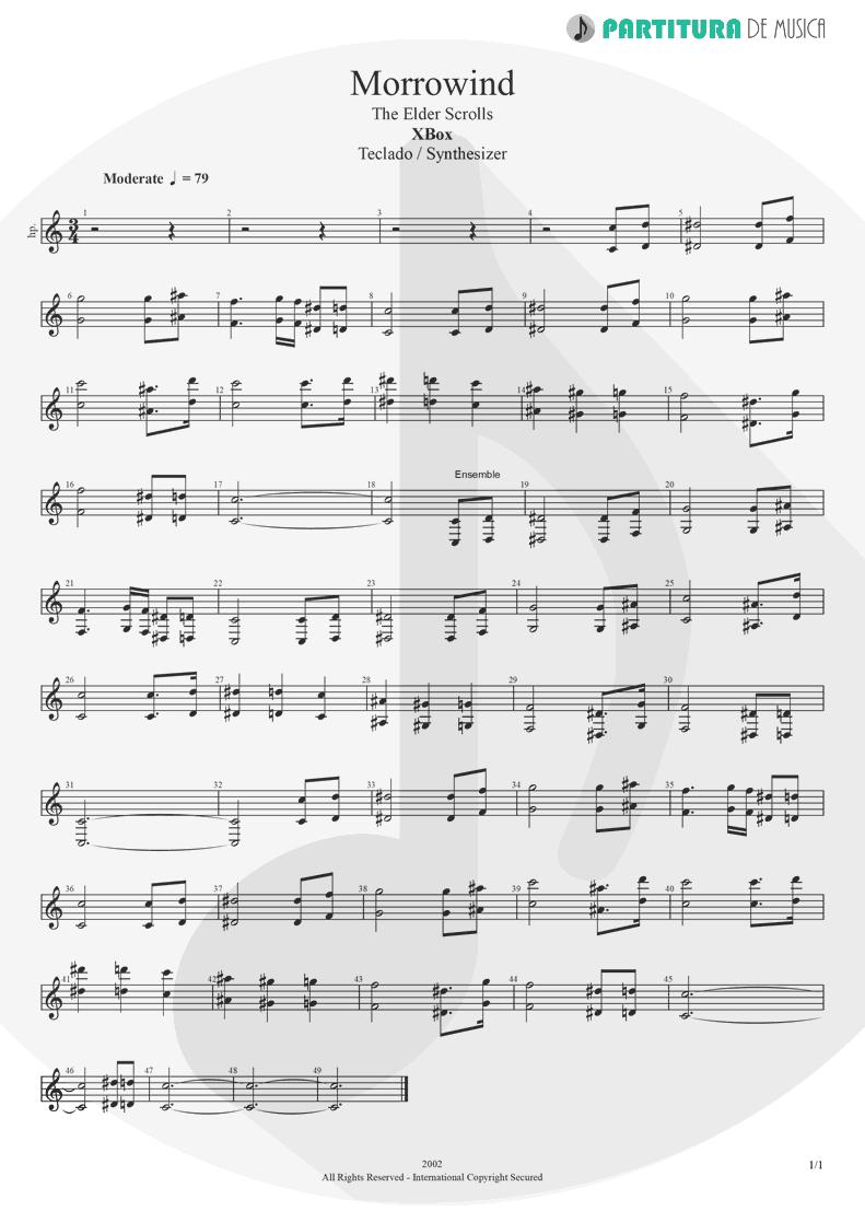 Partitura de musica de Teclado - Morrowind | Games | X-Box 2002 - pag 1