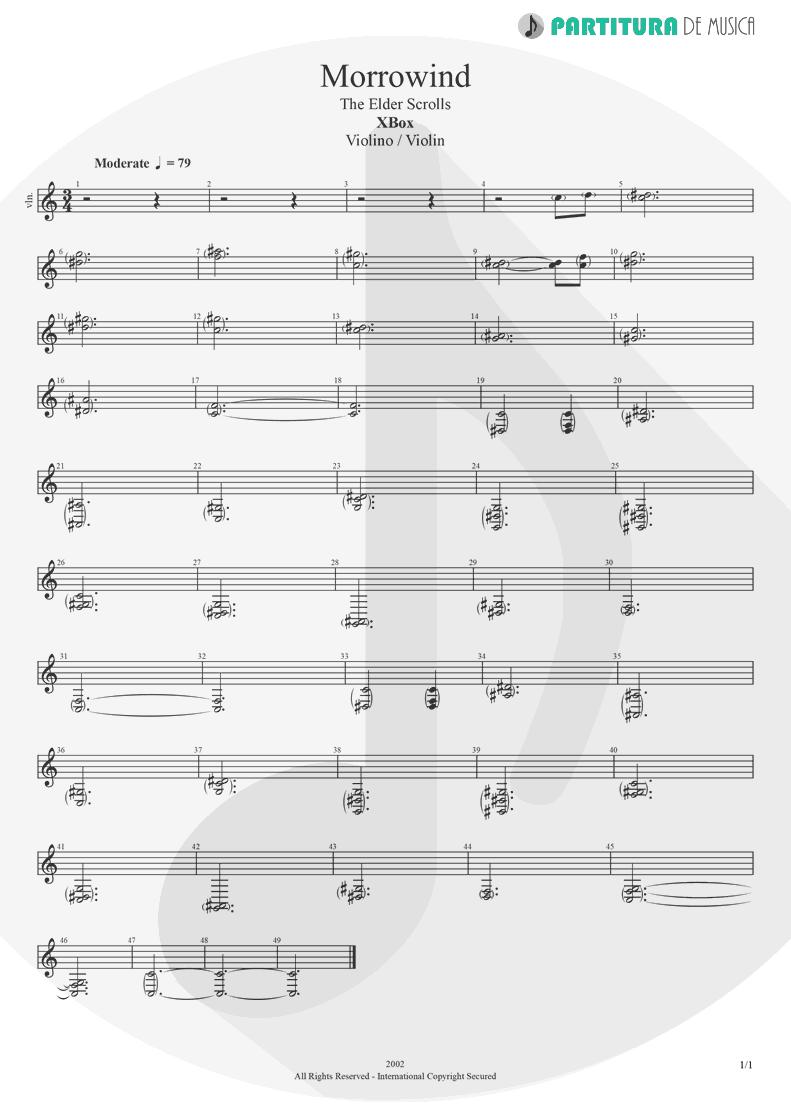 Partitura de musica de Violino - Morrowind | Games | X-Box 2002 - pag 1