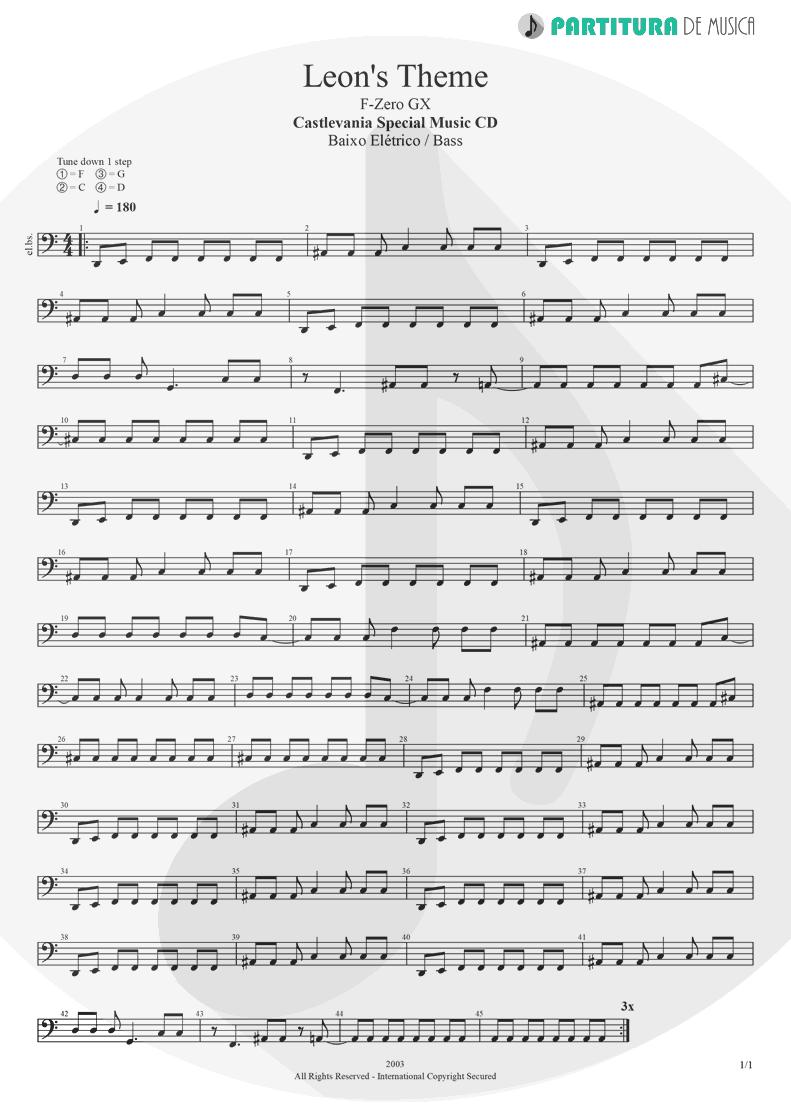 Partitura de musica de Baixo Elétrico - Leon's Theme | Games | Castlevania Special Music CD 2003 - pag 1