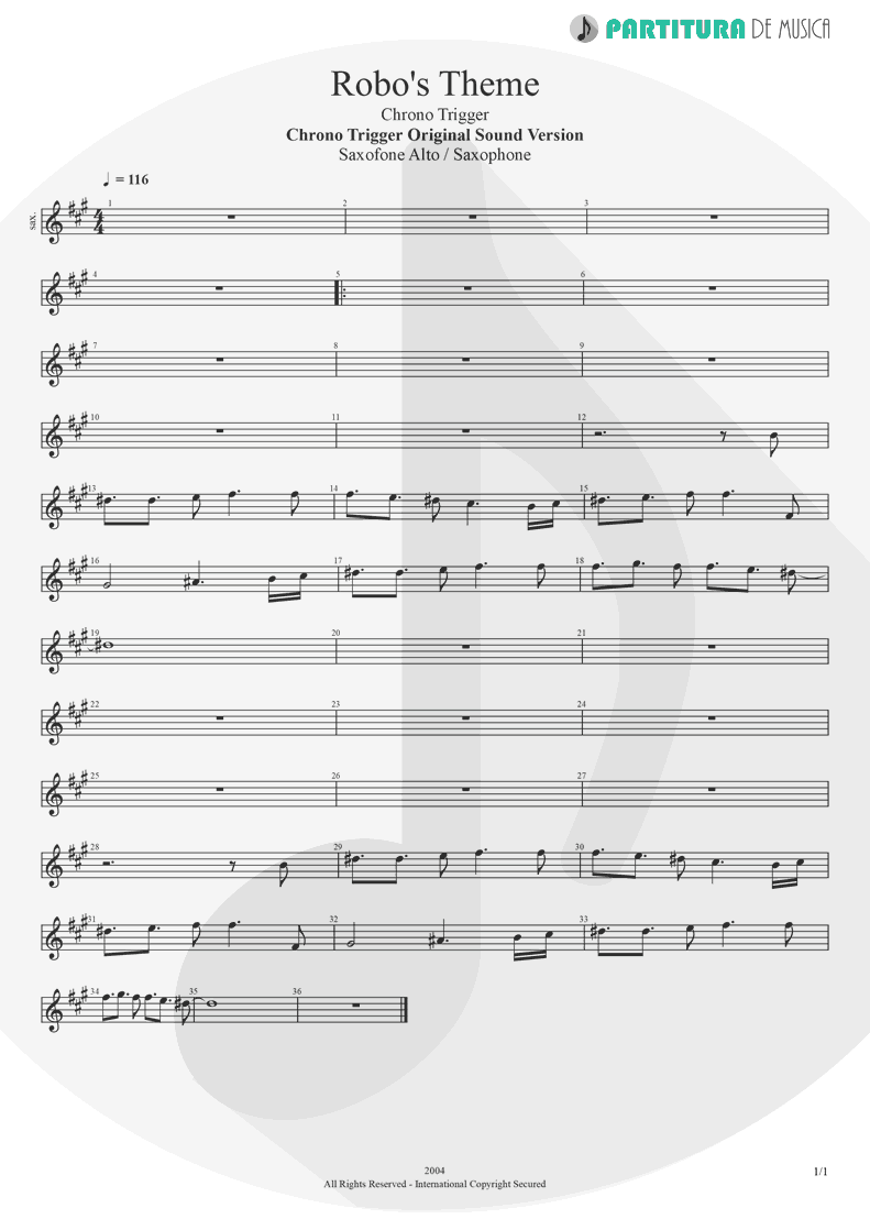 Partitura de musica de Saxofone Alto - Robo's Theme | Games | Chrono Trigger Original Sound Version 2004 - pag 1