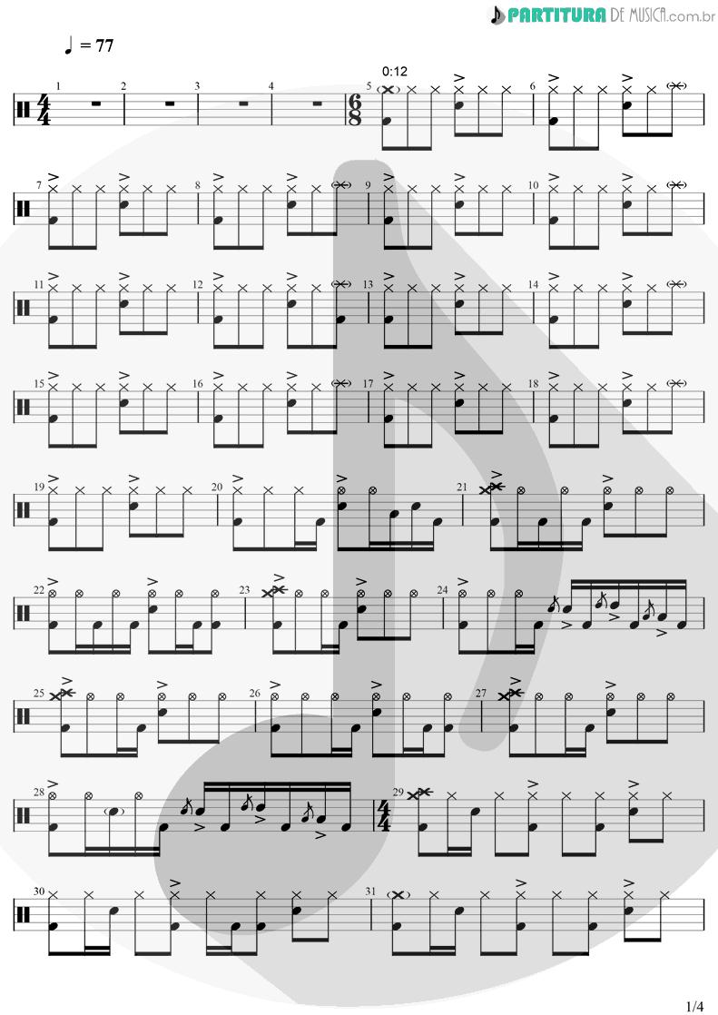 Partitura de musica de Bateria - Iris   Goo Goo Dolls   Dizzy Up The Girl 1998 - pag 1
