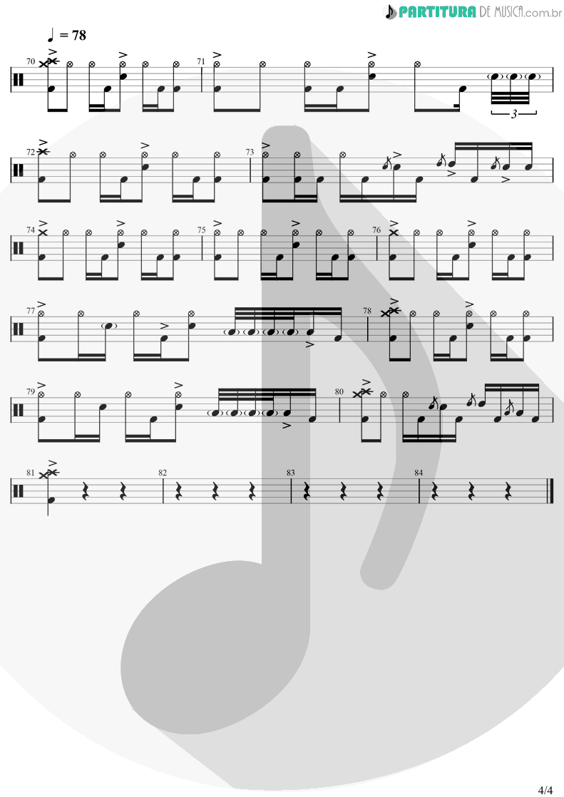 Partitura de musica de Bateria - Iris | Goo Goo Dolls | Dizzy Up The Girl 1998 - pag 4