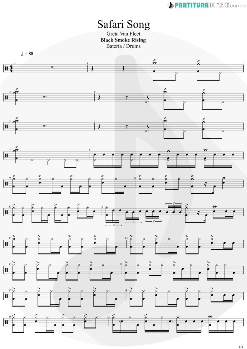 Partitura de musica de Bateria - Safari Song | Greta Van Fleet | Black Smoke Rising 2017 - pag 1