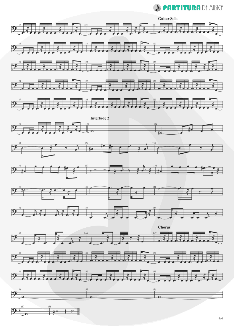 Partitura de musica de Baixo Elétrico - Crazy On You | Heart | Dreamboat Annie 1976 - pag 4