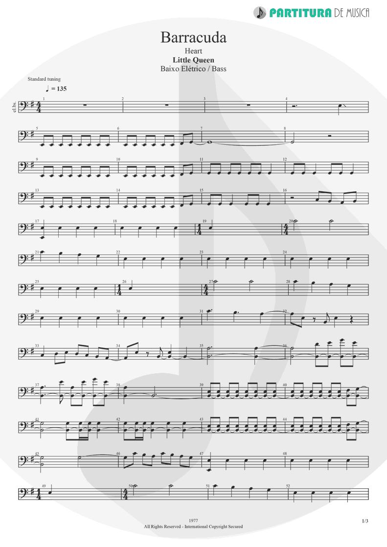 Partitura de musica de Baixo Elétrico - Barracuda | Heart | Little Queen 1977 - pag 1