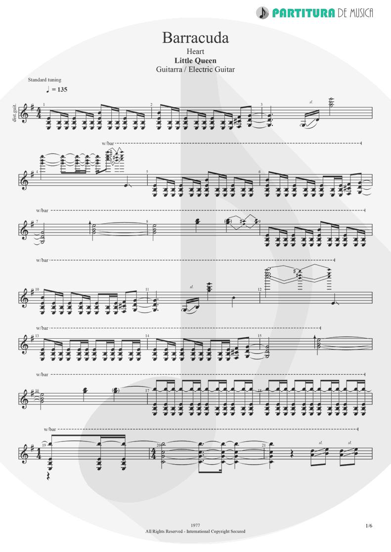 Partitura de musica de Guitarra Elétrica - Barracuda   Heart   Little Queen 1977 - pag 1