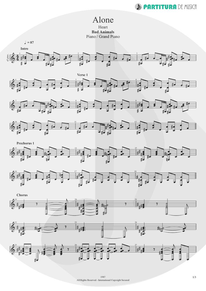 Partitura de musica de Piano - Alone | Heart | Bad Animals 1987 - pag 1