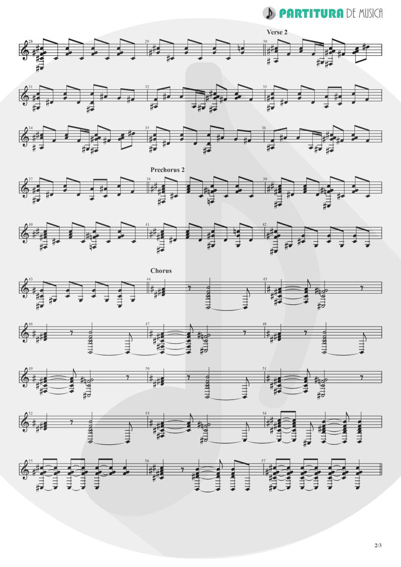 Partitura de musica de Piano - Alone | Heart | Bad Animals 1987 - pag 2