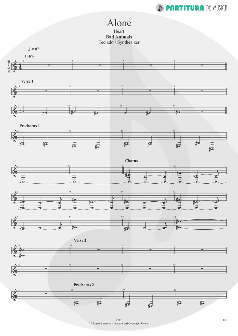 Partitura de musica de Teclado - Alone | Heart | Bad Animals 1987 - pag 1