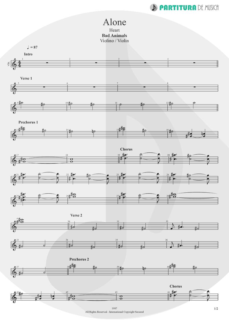 Partitura de musica de Violino - Alone | Heart | Bad Animals 1987 - pag 1