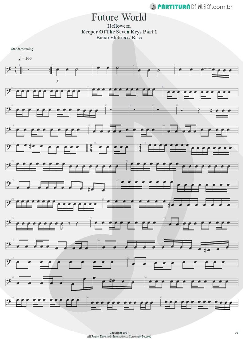 Partitura de musica de Baixo Elétrico - Future World | Helloween | Keeper Of The Seven Keys Pt 1 1987 - pag 1