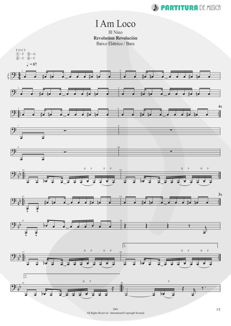 Partitura de musica de Baixo Elétrico - I Am Loco | Ill Nino | Revolution Revolucion 2001 - pag 1