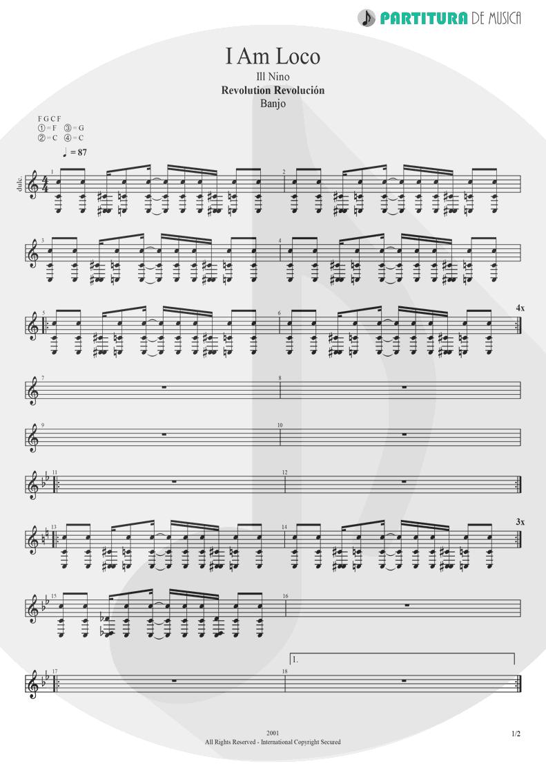 Partitura de musica de Banjo - I Am Loco   Ill Nino   Revolution Revolucion 2001 - pag 1