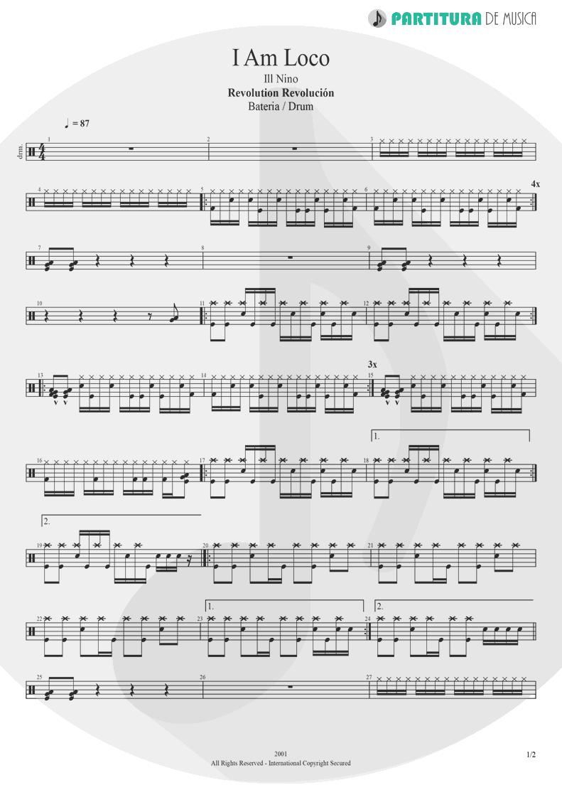 Partitura de musica de Bateria - I Am Loco | Ill Nino | Revolution Revolucion 2001 - pag 1