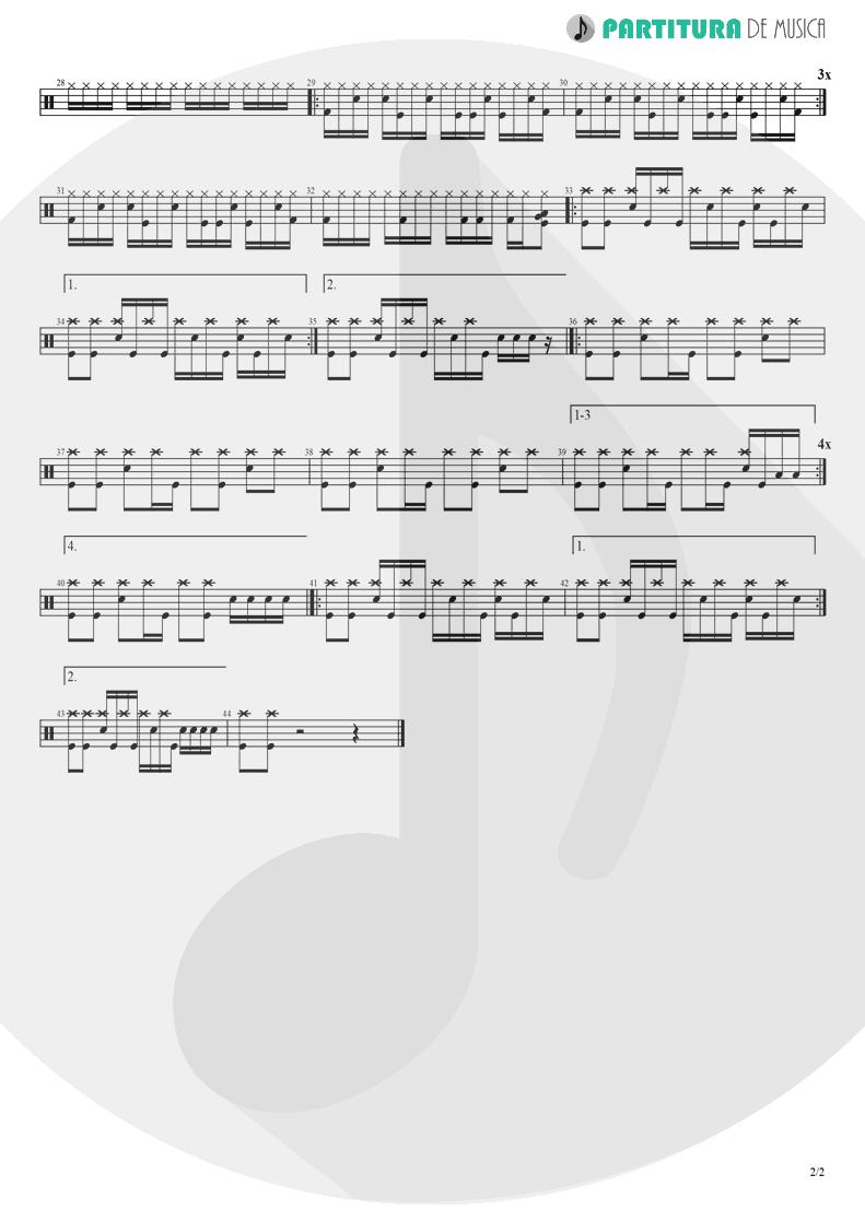 Partitura de musica de Bateria - I Am Loco | Ill Nino | Revolution Revolucion 2001 - pag 2