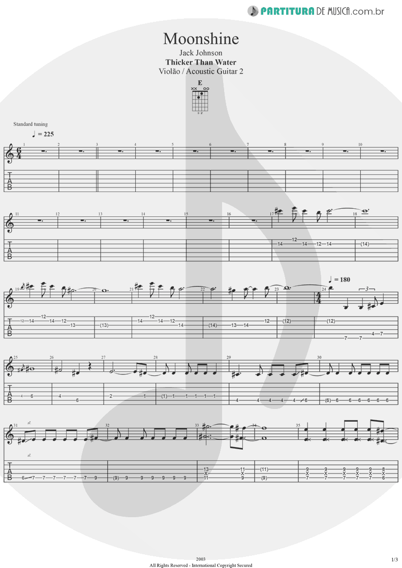 Tablatura + Partitura de musica de Violão - Moonshine | Jack Johnson | Thicker Than Water 2003 - pag 1