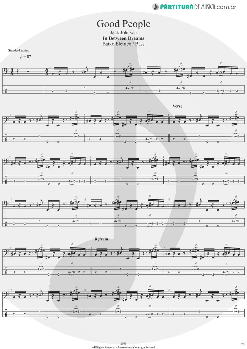 Tablatura + Partitura de musica de Baixo Elétrico - Good People | Jack Johnson | In Between Dreams 2005 - pag 1