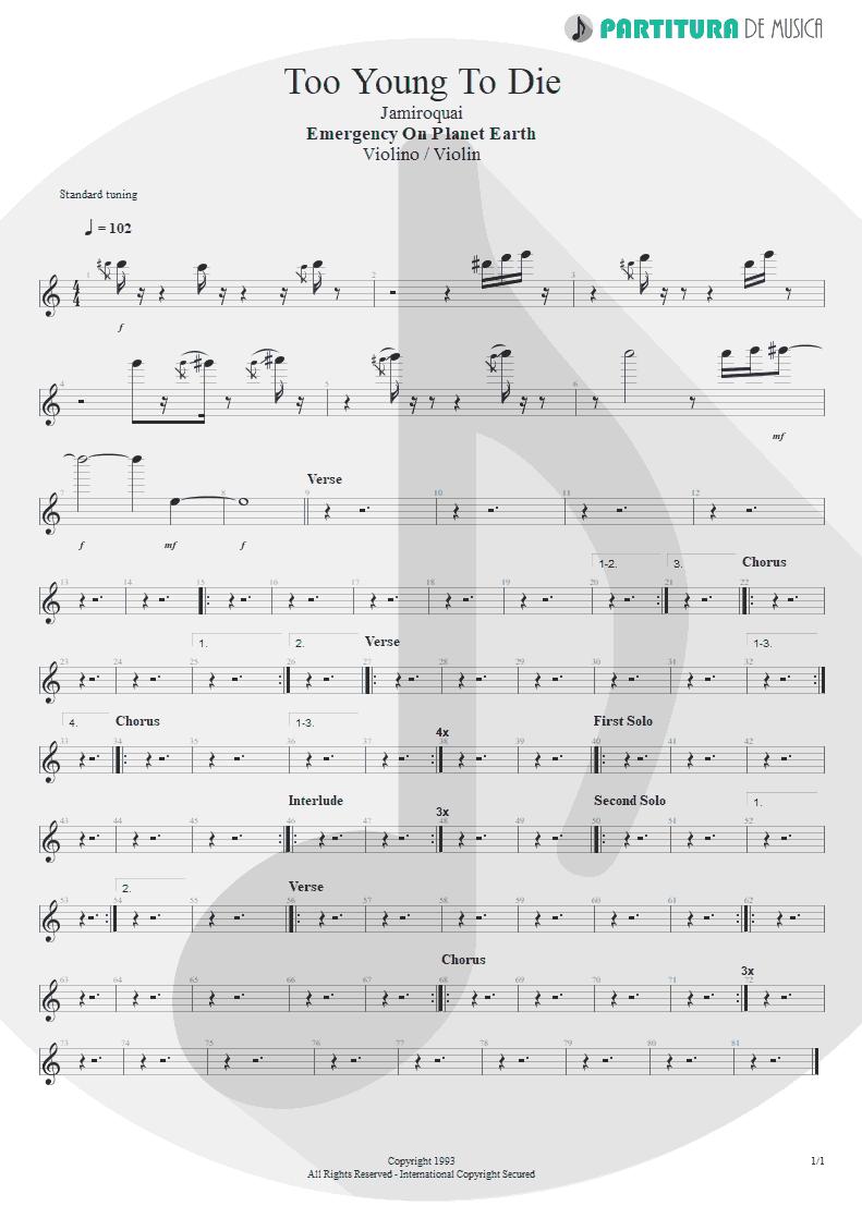 Partitura de musica de Violino - Too Young To Die   Jamiroquai   Emergency on Planet Earth 1993 - pag 1