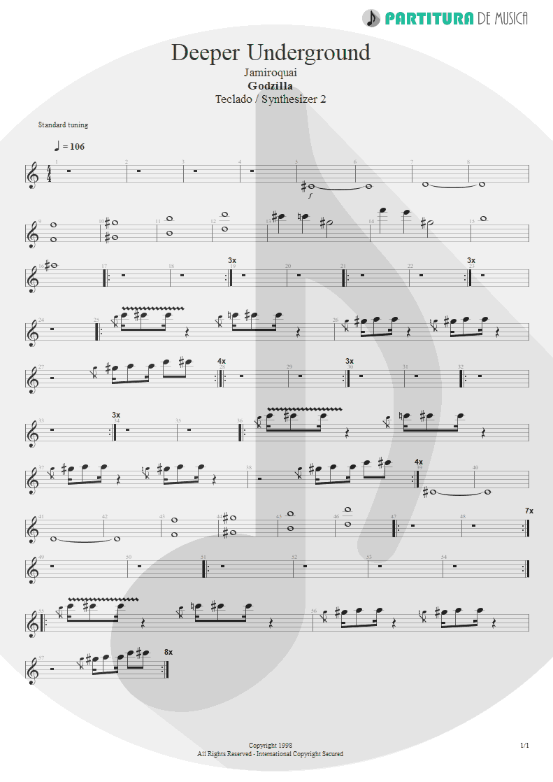 Partitura de musica de Teclado - Deeper Underground | Jamiroquai | Godzilla: The Album 1998 - pag 1