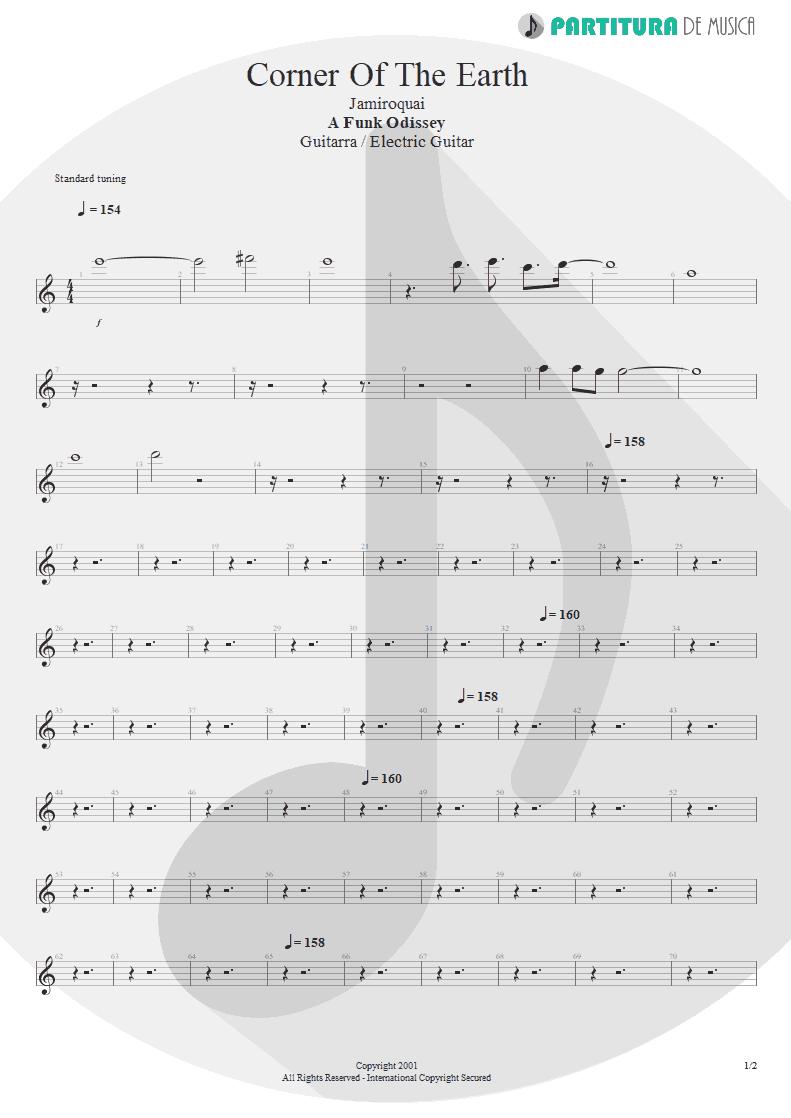 Partitura de musica de Guitarra Elétrica - Corner Of The Earth   Jamiroquai   A Funk Odyssey 2001 - pag 1