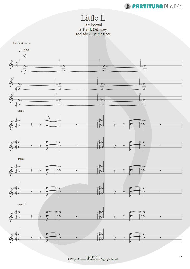 Partitura de musica de Teclado - Little L | Jamiroquai | A Funk Odyssey 2001 - pag 1
