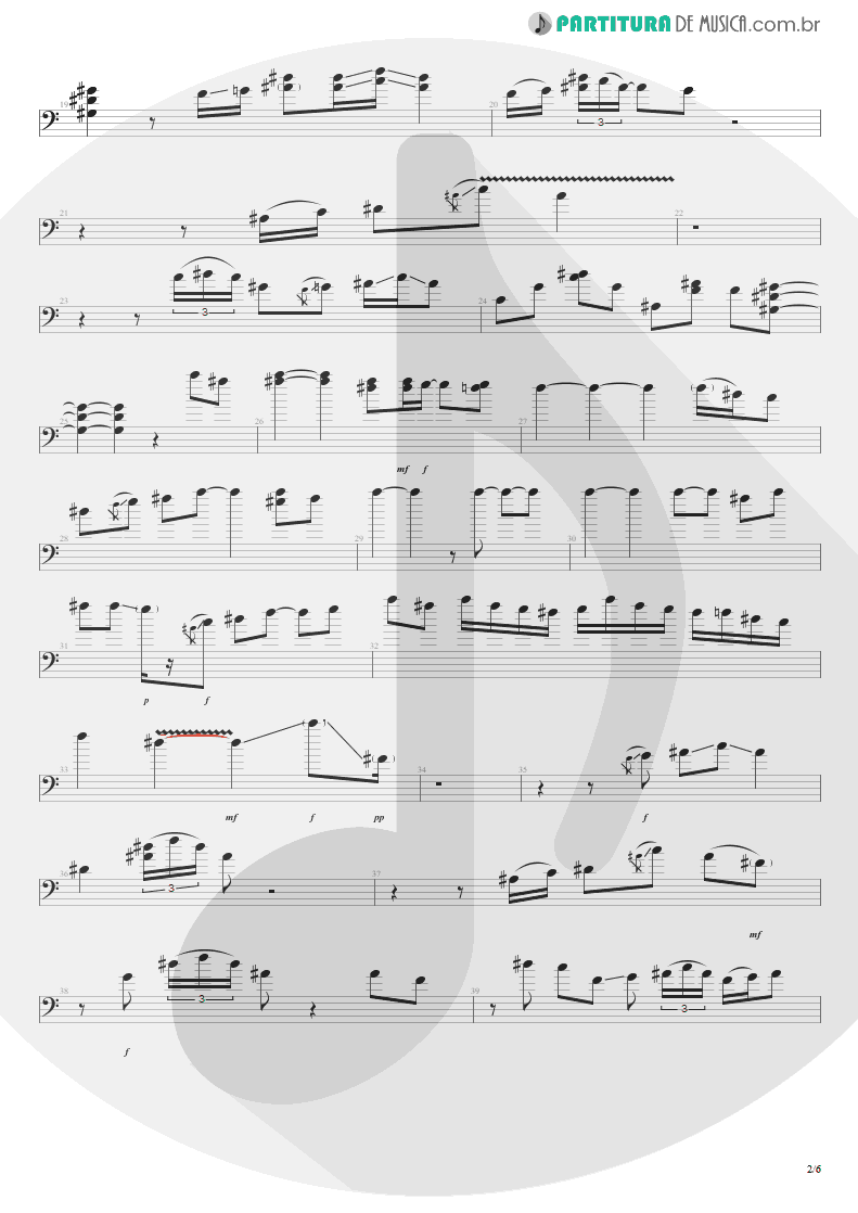 Partitura de musica de Baixo Elétrico - All Along The Watchtower   Jimi Hendrix   Electric Ladyland 1968 - pag 2