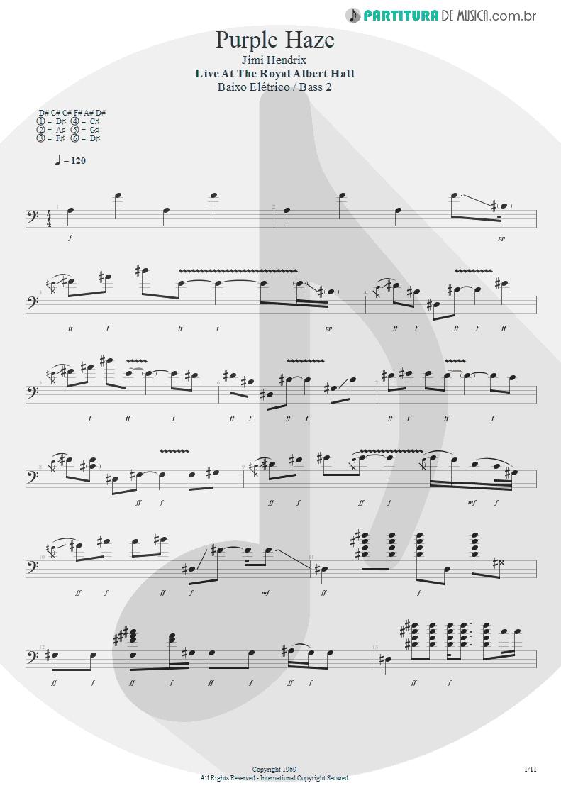 Partitura de musica de Baixo Elétrico - Purple Haze | Jimi Hendrix | Live at the Royal Albert Hall 1969 - pag 1
